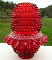 Fenton Glass Ruby Red Hobnail Lamp 3/pc Fairy Lamp Mint**