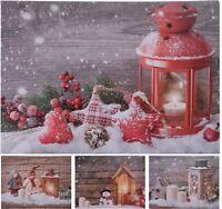 Art Mural Toile Avec Vacillant LED Clair de Fête Neige Noël Image Décor
