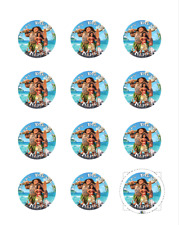 MOANA PERSONALISED CUPCAKE TOPPERS 12 PRE-CUT EDIBLE ICING IMAGES