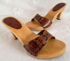 Vtg MIA Brazil Brown Leather Strap Studs Sandals Mules Wood Sole Women's 7.5-8M