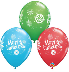 """Christmas Red, Green & Blue Snowflakes 11"""" Latex Balloons - Pack of 5, 10, or 25"""