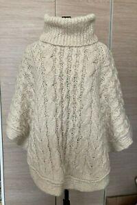 Primark cream cable knit poncho size 10/12