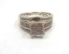 Sterling Silver & Micro Pave Diamond Square Ring, size 7, 0.65 ctw