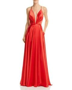 Agua Dresses Womens Gown Red Size 4 Charmeuse Illusion Plunge Lace Up $268- 477