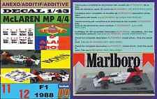 ANEXO DECAL 1/43 MCLAREN MP 4/4 1988 MARLBORO AYRTON SENNA & ALAIN PROST (08)