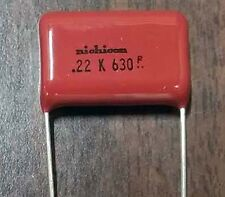 0.22uF, 630VDC Metallized Polyester Film Capacitor - Lot of 10 ( 28P305 )
