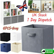 ✧6XGrey Foldable Square Canvas Storage Collapsible Folding Box Fabric Cubes Toys