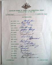 AUSTRALIA TO ENGLAND 1964 ASHES TOUR OFFICIAL CRICKET AUTOGRAPH SHEET