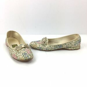 Vintage Daniel Green Slippers Size 7.5 Champagne Floral Tapestry Shoes Made USA
