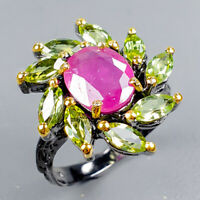 Ruby Ring Silver 925 Sterling Fine Art10x8mm Size 8.5 /R128899