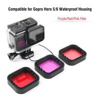 3pcs Red Pink Purple Colors Dive Super Suit Filter for Gopro HERO5/6 Camera LJ