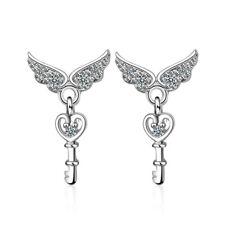 925 Sterling Silver Crystal Angel Wings Heart Key Stud Drop Earrings XMAS GIFT