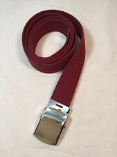 """New, Men's Burgundy Cotton Fabric Web Belt, 1.25"""" X 60"""", Made in the USA"""