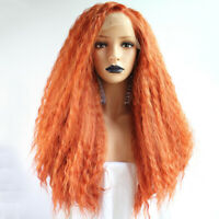 Perruque orange wig Long Kinky Wave Synthetic Lace Front Wig For white women