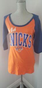Women's 5th & Ocean by New Era Royal New York Knicks NBA SEQUINS T-Shirt - M