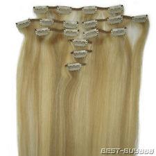 """For a Full Head Clip in Brazilian Remy Human Hair Extensions 100gr 20""""22""""24""""8Pcs"""