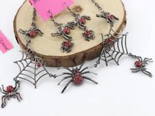 Set Betsey Johnson Pendant Enamel Jewely Rhinestone Spider Web Earrings Necklace