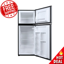 New listing Mini Fridge With Freezer 4.6 Cu Ft Refrigerator Two Door Compact Stainless Steel