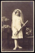 Old private photo postcard: 1st Communion Girl w/White Dress + Veil + candle