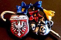Vintage Frankfurt Germany Enamel And Silver Tone  Travel Lapel Pin