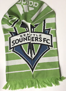 ADIDAS SEATTLE SOUNDERS MLS SOCCER FC SCARF - REVERSIBLE / 2 Ply