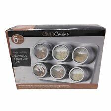 Magnetic Spice Jars Set Stainless Steel Clear Lid Storage Tins Seasoning Box