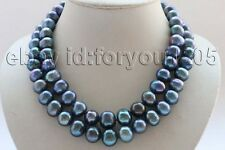 "Pearl Necklace 9k zircon #f2687! 17-18"" Double Natural 12-15mm Black Round"