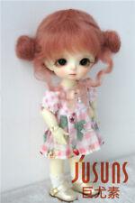 1/8 BJD Doll Wig 5-6'' Twin Buns Mohair Doll Wig Lati Yellow BJD Accessories