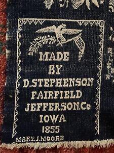 1855 JACQUARD WOVEN COVERLET MADE BY D. STEPHENSON FAIRFIELD IOWA