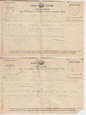 1941 lot - 4 x Post Office telegrams sent from 9th Battalion Signals / B Company