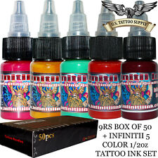 9 Round Shader Tattoo Needles + Infinitii Tattoo Ink 5 Color 1/2oz Ink Set