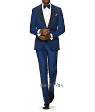 Custom Made Blue Men Suit Smoking Lapel,Tailored Blue Men Tuxedo,Wedding Tuxedo
