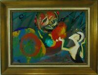 Horst Lesniewicz Abstrakte Komposition mit weiblicher Figur Öl Monogramm