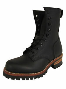 $298 Frye Womens Logger 8G Leather Work Boots, Black, US 8
