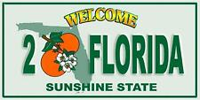 Welcome to Florida License Plate Velour Beach Towel