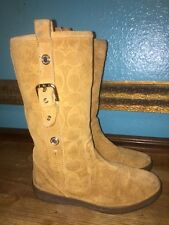 COACH Tullip A7745  5.5 Tan Wheat Suede Signature Boots Buckle Fur Lined