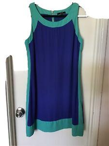 Jendi Size 14 Blue/ Green Sleeveless Dress