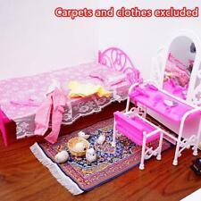 Mode-Rosa-Bett-Frisierkommode & Stuhl für Barbies Puppen Schlafzimmermöbel
