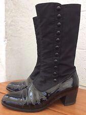 Vintage Italian Black Patent Leather & Satin Boots - Size 37/4
