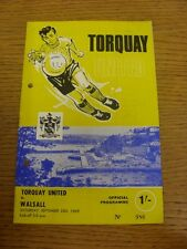 20/09/1969 Torquay United v Walsall  (Light Fold, Punched Holes). Thanks for vie