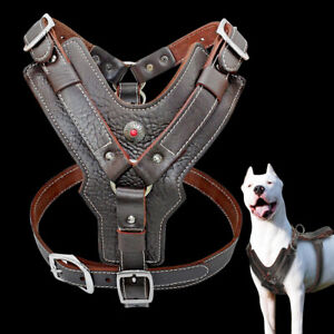 Real Leather No Pull Dog Harness Heavy Duty for XL Boxer Pitbull Brown