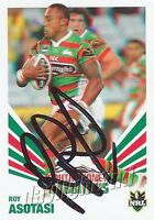 ✺Signed✺ 2012 SOUTH SYDNEY RABBITOHS NRL Card ROY ASOTASI Daily Telegraph