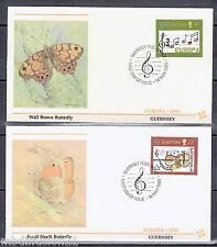 1985-GUERNESEY//2x ENVELOPPES/FDC 1°JOUR*PAPILLON/MUSIQUE*TIMBRE EUROPA:322/323