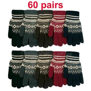 60 pairs Men's Women Cold Snow Warm Knitted Magic Winter Gloves Wholesale Lots