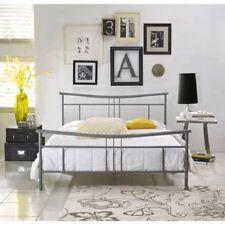 Nickel Finish Full Metal Platform Bed Home Bedroom Furniture No Boxspring Needed