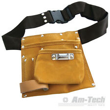 6 POCKET LEATHER HEAVY DUTY ADJUSTABLE TOOL NAIL BELT HAMMER LOOPS N0850