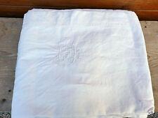 Ancien drap en coton épais monogrammé , art populaire