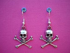Funky Plata Cráneo huesos cruzados pendientes Gótico Halloween Cool Pirata Fancy Dress