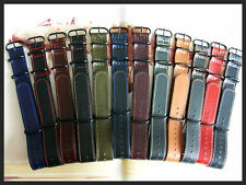 18mm Black NATO G10 Shell Oil leather UTC Pilot watch band IW SUISSE 16 20 22 24