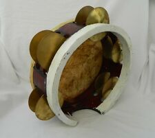 "Egyptian Musical Deff Deep Drum Burgundy Brass Cymbals-Tambourine- Mazhar 11"""